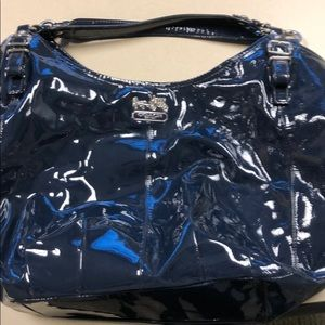 Large coach tote in navy blue